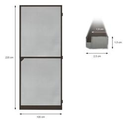 Fliegengitter Tür Alu Rahmen Braun 100 x 220 cm