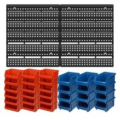 Wandregal mit Stapelboxen 31 Teilig, 64 x 38 Lochwand