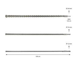 Jeu de forets à béton SDS Plus 12-16-24 mm x 1000 mm set foret à pierre 3 pièces