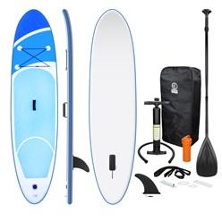 Aufblasbares Stand Up Paddle Board, 308 x 76 x 10 cm, Blau, inkl. Pumpe und Tragetasche, aus PVC und EVA