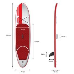 Aufblasbares Stand Up Paddle Board, 308x76x10 cm, rot, inkl. Pumpe und Tragetasche, aus PVC und EVA