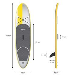 Surfboard stand up paddle 120kg 308cm jaune gonflable avec rames pompe à air sac