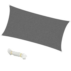Voile d'ombrage protection UV solaire toile tendue parasol rectangle 2x4m gris