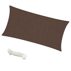 Voile d'ombrage protection UV solaire toile tendue parasol rectangle 2x4m marron