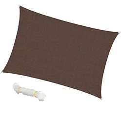 Voile d'ombrage protection UV solaire toile tendue parasol rectangle 4x6m marron