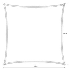 Sonnensegel Quadrat 3,6 x 3,6 m Anthrazit
