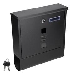 Design Briefkasten mit Zeitungsfach, Schwarz, aus pulverbeschichtetes Stahl mit 2 Schlüsseln und Montagematerial