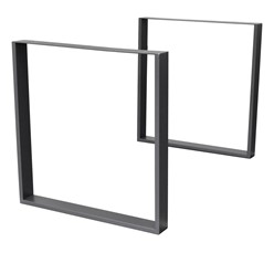 2er Set Tischbeine 90x72 cm, Dunkelgrau, aus pulverbeschichtetem Stahl