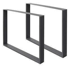 2er Set Tischbeine dunkelgrau, 80x72 cm, aus pulverbeschichtetem Stahl