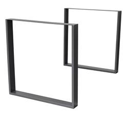 2er Set Tischbeine 80x72 cm, Dunkelgrau, aus pulverbeschichtetem Stahl
