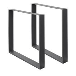 2er Set Tischbeine dunkelgrau, 70x72 cm, aus pulverbeschichtetem Stahl