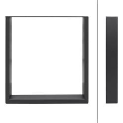 2er Set Tischbeine 70x72 cm, Dunkelgrau, aus pulverbeschichtetem Stahl