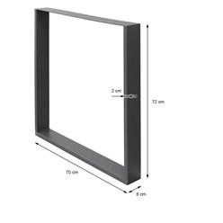 Tischbeine Set Stahl Grau 70 x 72 cm