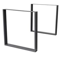 2er Set Tischbeine 60x72 cm, Dunkelgrau, aus pulverbeschichtetem Stahl