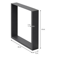 Tischbeine Set Stahl Grau 40 x 43 cm