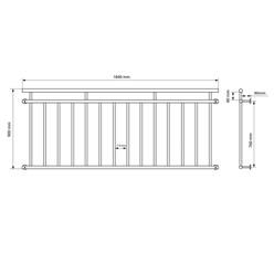 Französischer Balkon 90 x 184 cm, mit 14 Füllstäben, Schwarz, aus pulverbeschichtet Stahl