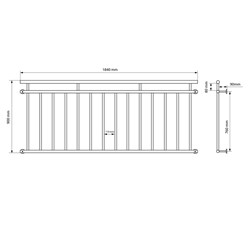 Französischer Balkon 90 x 184 cm, mit 14 Füllstäben, Weiß, aus pulverbeschichtet Stahl