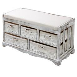 Vintage Sitzkommode mit 5 Körben, weiß, 78x36x45 cm, aus Paulownia Holz