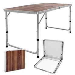 Campingtisch höhenverstellbar klappbar Holzdekor aus Aluminium und MDF
