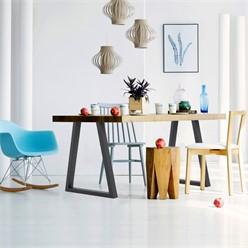 2 x Pieds de table trapèze 60x72cm industriels acier gris support cadre meuble