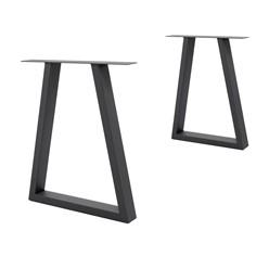 2er Set Tischbeine Trapez Design 60x72 cm, Dunkelgrau, aus pulverbeschichtetem Stahl