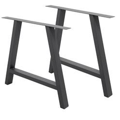 2er Set Tischbeine A-Design, dunkelgrau, aus pulverbeschichtetem Stahl