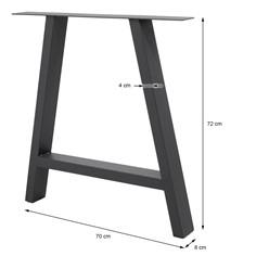 2er Set Tischbeine A-Design, dunkelgrau, 70x72 cm, aus pulverbeschichtetem Stahl