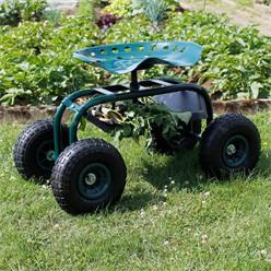 Fahrbarer Gartensitz aus Metall