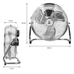 """Bodenventilator 65W 14"""" verchromt 3 Stufen CE/GS"""