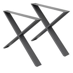 2er Set Tischbeine X-Design dunkelgrau, 60x72 cm, aus pulverbeschichtetem Stahl