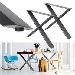 2 jambes pieds de table/ banc industriels piétement gris X Design 60x72 cm acier