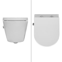 Hänge WC aus Keramik mit Bidet-Funktion Soft-Close Weiß