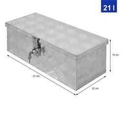 Aluminium Werkzeugkasten, 57x22x19 cm, abschließbar, inkl. 2 Schlüsseln