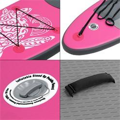 Aufblasbares Stand Up Paddle Board Maona, 308 x 76 x 10 cm, Rosa, inkl. Pumpe und Tragetasche, aus PVC und EVA