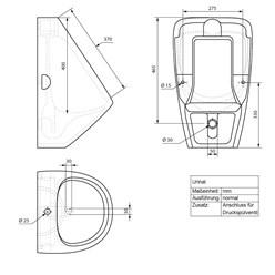 Urinal Anschluss oben mit Druckspüler und Siphon