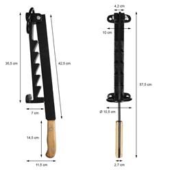Handholzspalter mit Holzgriff Gusseisen Schwarz