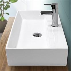 Waschbecken Eckigform 600x360x130 mm, Weiß, aus Keramik