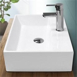 Waschbecken Eckigform 510x360x130 mm, Weiß, aus Keramik