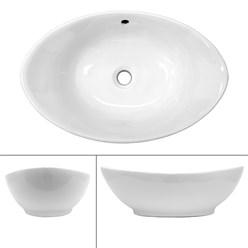Waschbecken Ovalform 590x390x200 mm, Weiß, aus Keramik