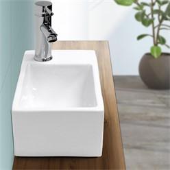 Waschbecken Eckigform 350x205x125 mm, Weiß, aus Keramik