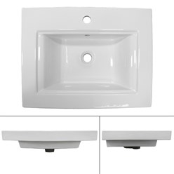 Lavabo 605 x 465 x 160 mm en céramique blanche