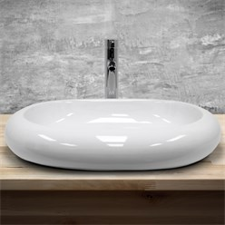 Waschbecken Ovalform 630x420x120 mm, Weiß, aus Keramik