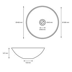 Waschbecken Rundform 400x147 mm, Weiß, aus Keramik