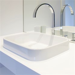 Lavabo 390 x 390 x 140 mm en céramique blanche