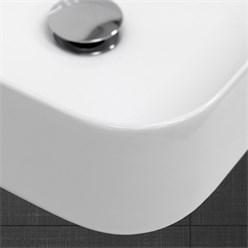 Waschbecken Eckigform 390x390x140 mm, Weiß, aus Keramik