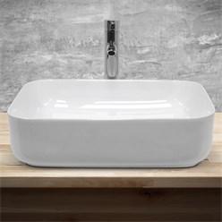 Waschbecken Eckigform 505x395x135 mm, Weiß, aus Keramik