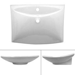 Lavabo 605 x 460 x 165 mm en céramique blanche