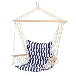 Design Hängesessel blau/weiß, 45x100x43 cm, aus Baumwolle/Hartholz, belastbar bis 120 kg