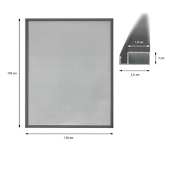 130x150cm Moustiquaire pour fenêtre cadre gris en aluminium + matériel montage