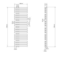 DHK Iron EM 600*1400 Chrome + Heizstab 1200W